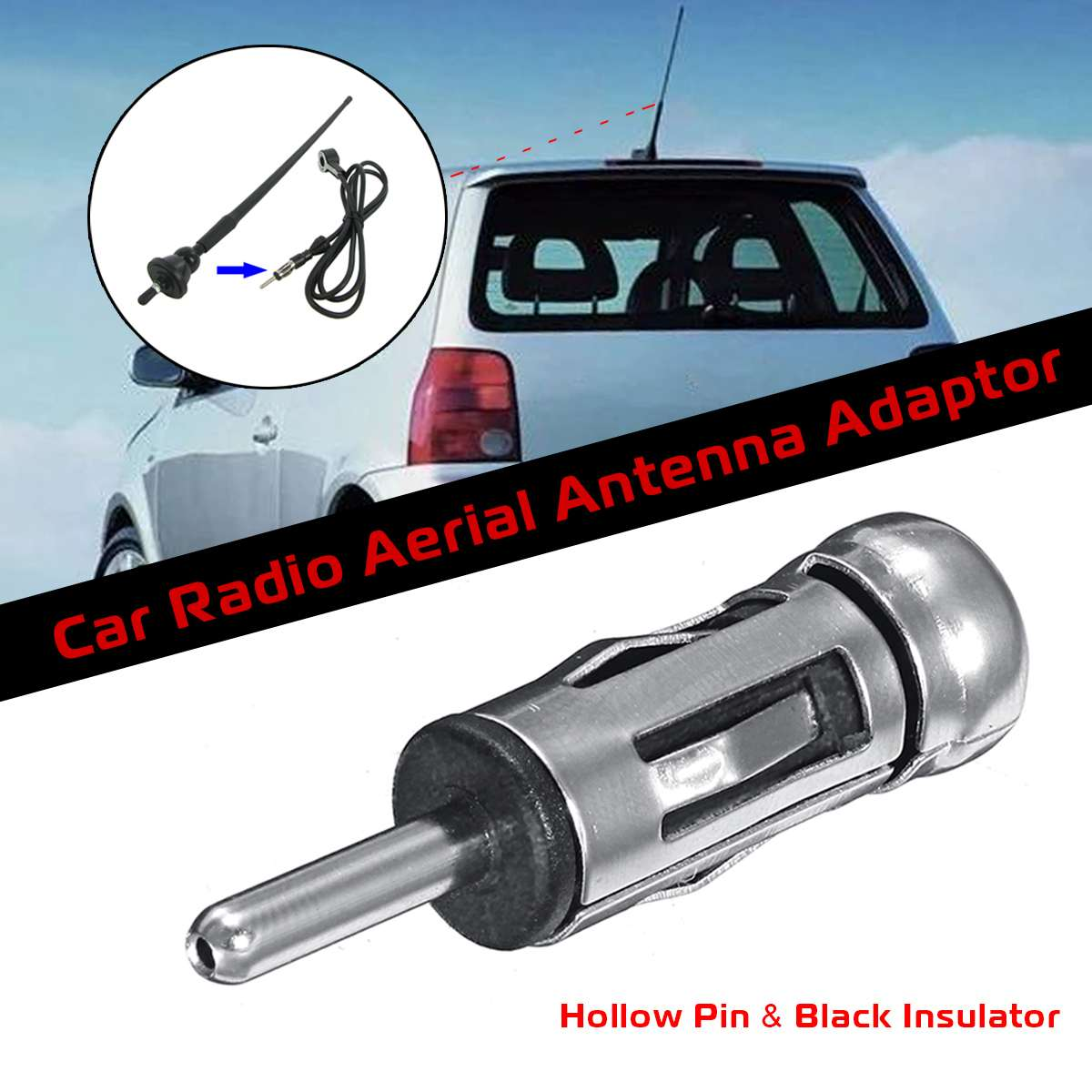 PC5-55 VAN VEHICLES DIN AERIAL TO ISO AERIAL EXTENSION ADAPTOR MAST ANTENNA