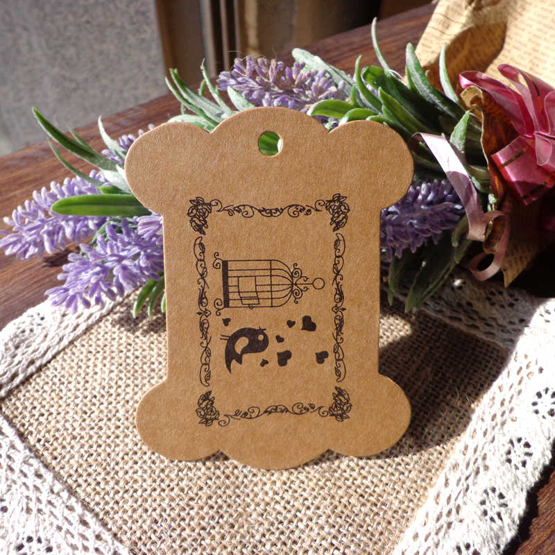 Label Cardboard Kraft-Paper-Tags Candy Birthday-Party 50pcs Boxes-Tags-Packaging Cage