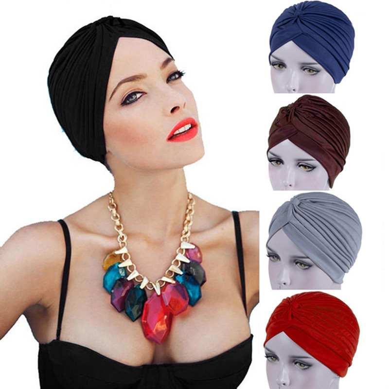 2020 Bandanas Women Stretchy Turban Muslim Hat Headband Warp Female Chemo Hijab Knotted Indian Cap Adult Head Wrap For Women