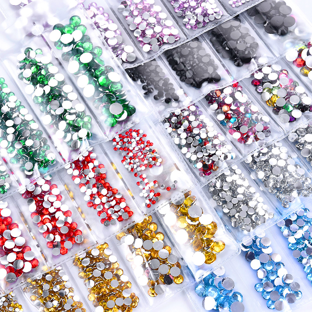 Multi-size Glass Nail Rhinestones For 3D Tips Nails Art Decorations Crystals Strass Charms Partition Mixed Size Rhinestone Set