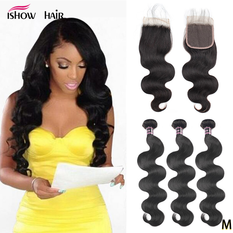 Ishow Body Wave Bundles With Closure 100% Human Hair Bundles With Closure Brazilian Hair Weave Bundles With Closure Non-Remy