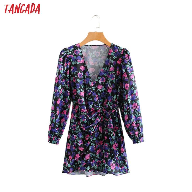 Tangada Women Purple Flowers Spring Dress V Neck Long Sleeve Ladies Waist Bow Mini Dress Vestidos 2L06
