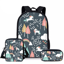 NOISYDESIGNS 3pcs/set school bags for kids cartoon unicorn printing schoolbag children shoulder bagpack girls primary book