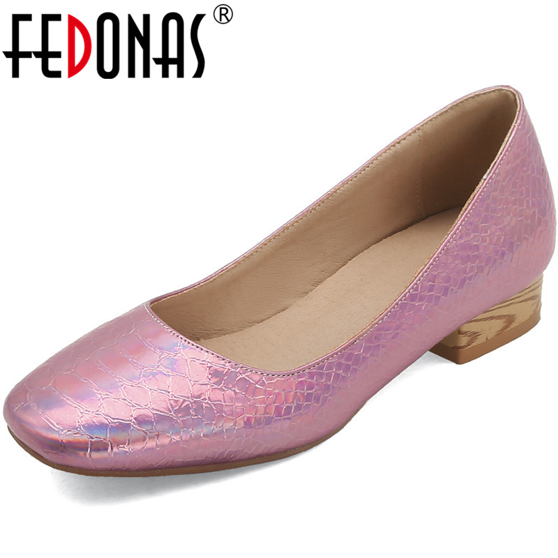 FEDONAS Newest Women Square Heels Pumps Prom Office Lady Concise Square Toe Pumps Spring Summer Shoes Woman Retro Shoes Woman