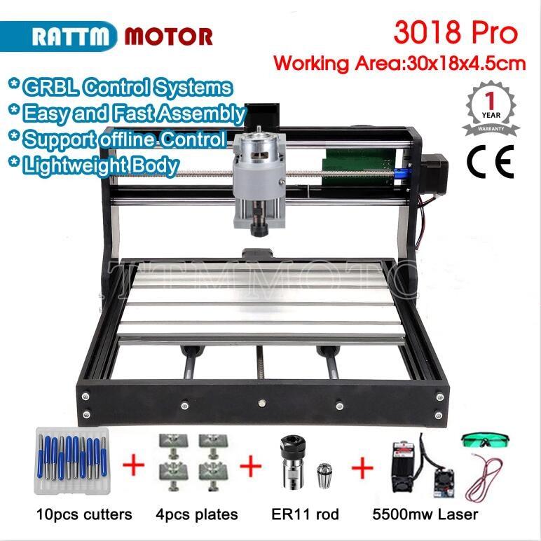 CNC 3018 Pro GRBL Control 3 Axias DIY Mini Laser Engraving Machine 30x18x4.5cm Offline Control Wood Router