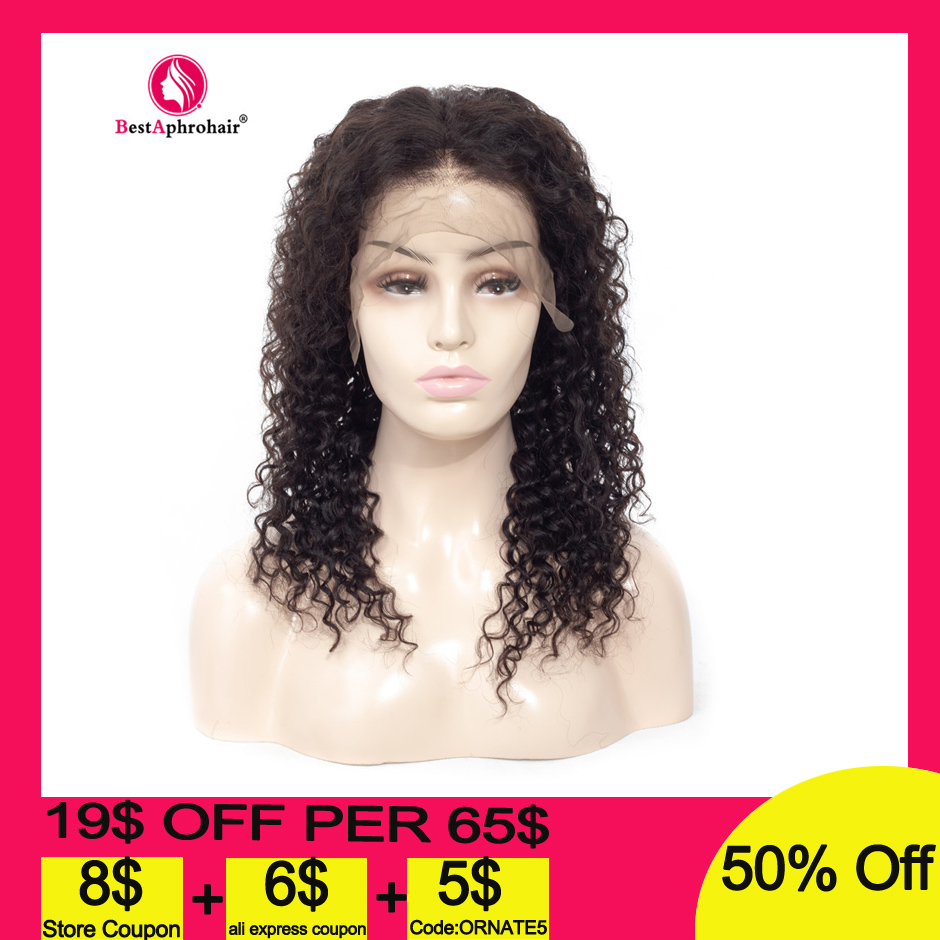 Aphro 13*4 Curly Human Hair Wigs Pre Plucked With Baby Hair Brazilian Remy Glueless Lace Front Human Hair Wigs Natural Color Wig