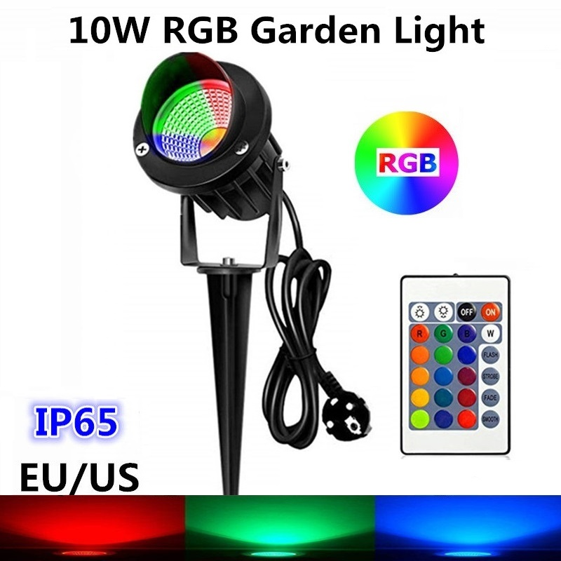 10W COB RGB Garden Lamp Outdoor LED Lawn Light with Remote Waterproof IP65 Landscape Spot Spike Light AC85-265V EU US