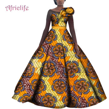 WY4141African Wedding Dresses for Women Cotton Batik Ankara Print Traditional Clothing Casual Party Long Sleeve Dress Plus Size