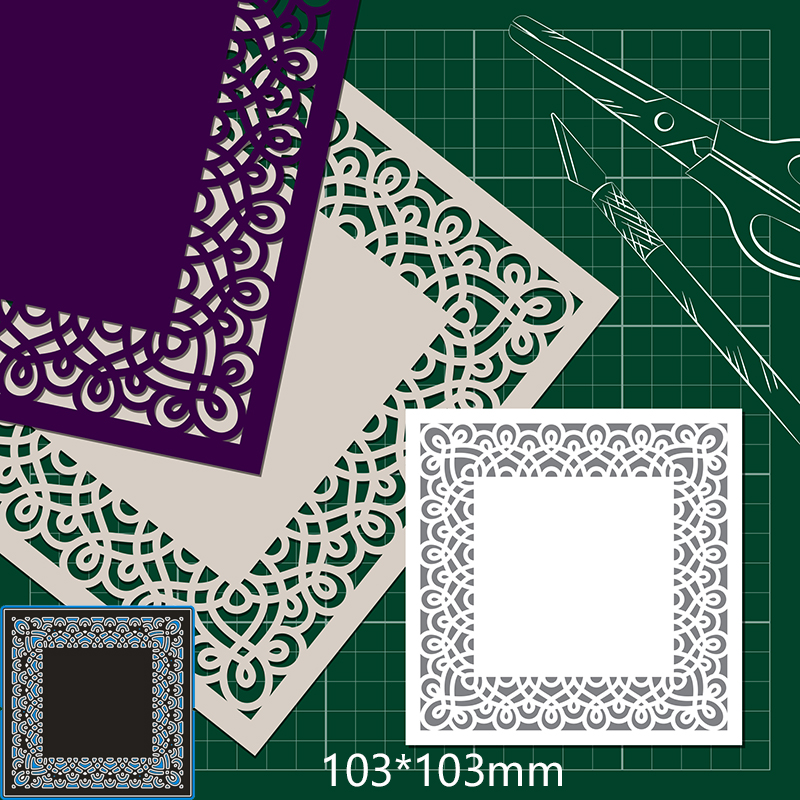 103*103mm Lace Square New Metal Cutting Dies For Card DIY Scrapbooking Stencil Paper Craft Album Template Dies