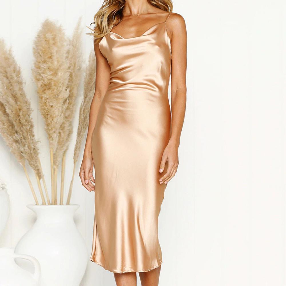New Fashion Womens Strappy Straped Slip Plunge Bodycon Slim Dots Dress Ladies Elegant Evening Party Cllubwear Summer Satin Dress