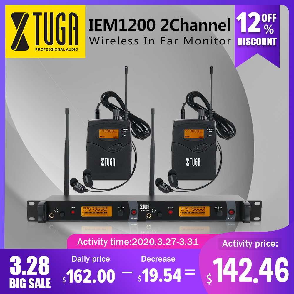 XTUGA IEM1200 In Ear Monitor Wireless System SR2050 Double Transmitter Monitoring Professional For Stage Performance