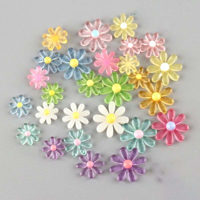 50Pcs/Pack Multicolor Candy Small Resin Daisy Sunflower Flat Back Cabochon For DIY Headband Hair Clip Phone Accessories
