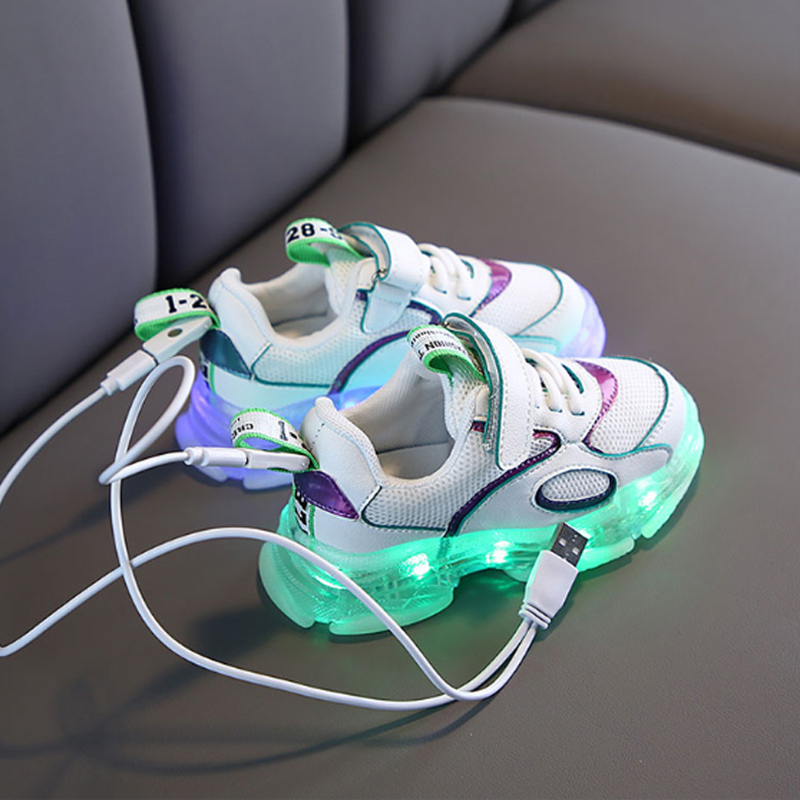 Multiple Modes Colorful Children Sneakers With Luminous Sole 2020 LED Shoes Kids USB Charge Baby Boys Girls Shoes Bright D04151