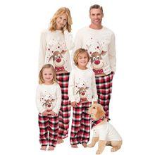 женщин и детей; рождественские пижамы; Семейный комплект,M-3XL От 6 месяцев до 9 лет; коллекция года; Семейные рождественские пижамы с принтом рождественского оленя; Семейные комплекты для взрослых