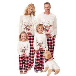 M-3XL 6m-9y 2018 família natal pijamas natal veados impressão adulto feminino crianças família roupas combinando natal pijamas família conjunto