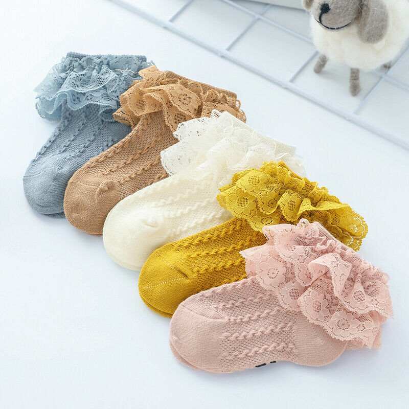 Infant Baby Kids Girls Comfortable Princess Bowknot Sock Lace Ruffle Frilly Trim Ankle Socks Girl Fashion Socks