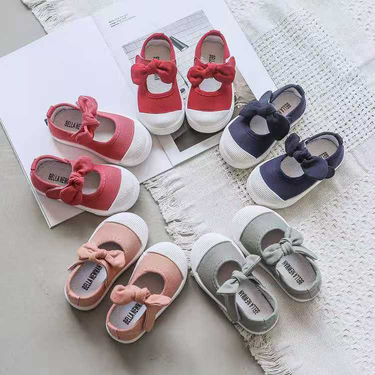 Children Shoes Girls Canvas Shoes Fashion Bowknot Comfortable Kids Casual Shoes Sneaker Toddler Girls Princess Shoes