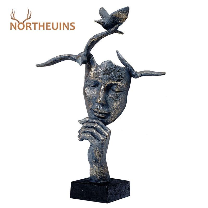 NORTHEUINS Resin Retro Mask Miniature Figurines for Home Thinker Statues Head Sculpture Interior Decoration Christmas Desk Decor