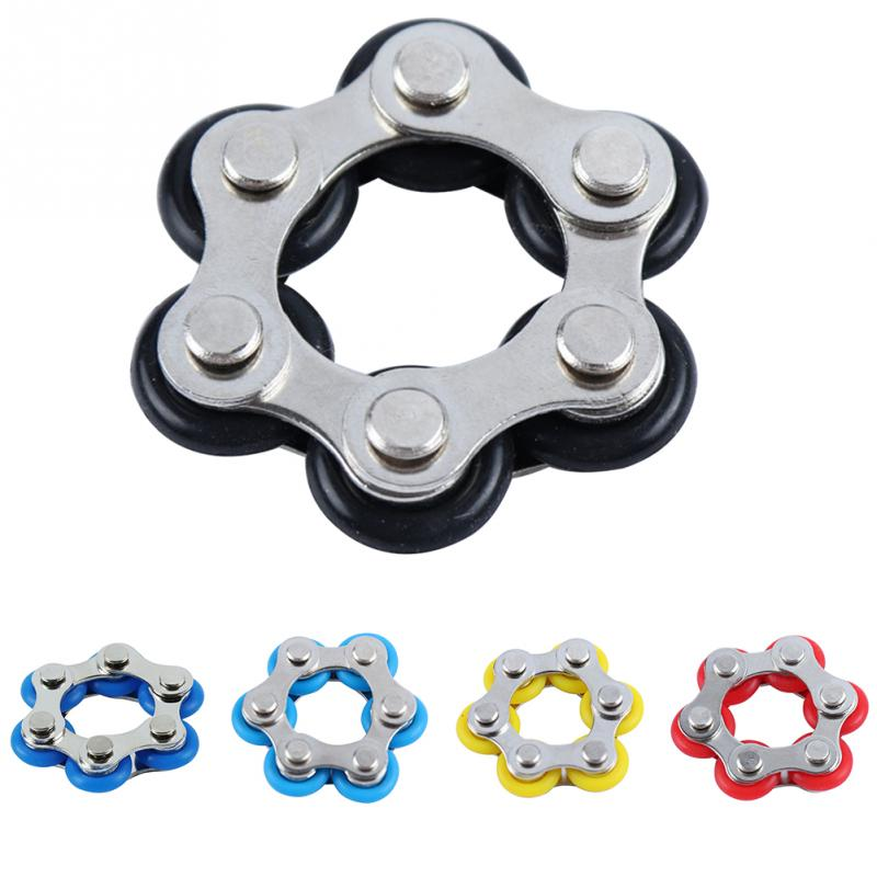 ADHD Anxiety Finger Autism Rotated Roller Chain Mini Fidget Toy Stress Reducer 6 Section Bicycle Chain Decompression Toy