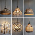 Винтажная Подвесная лампа пеньковая веревка Подвесная лампа для дома спальни гостиной промышленные подвесные светильники
