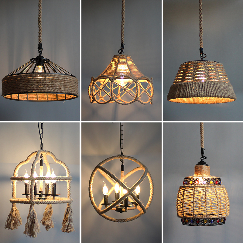 Vintage  Pendant Lamp Hemp Rope Hanging Lamp For Home Bedroom Living Room Industrial Pendant Lights