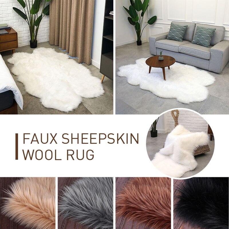 Laine tapis tapis sol moelleux tapis luxueux chaud anti-dérapant multicolore forme irrégulière 180X110cm accueil tapis chaise chambre