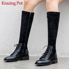 Krazing Pot genuine leather patchwork flock stretch boots British lace up fashion side Zip keep warm women thigh high boots L22