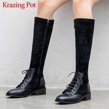 Krazing Pot hakiki deri patchwork akın streç çizmeler İngiliz lace up moda yan Zip sıcak tutmak kadın uyluk yüksek çizmeler l22