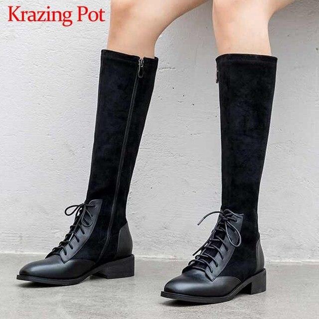 Krazing Pot prawdziwej skóry patchwork stado stretch buty brytyjska koronka up moda boczny zamek utrzymać ciepłe buty damskie zakolanówki L22