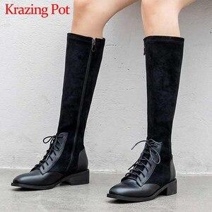 Image 1 - Krazingポット本革パッチワークフロックストレッチブーツ英国のレースアップファッションサイドジップ保温女性はブーツを腿l22