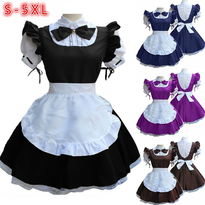 New Women Ladies Fashion Short Sleeve Doll Collar Retro Maid Dress Cute French Maid Outfit Cosplay Costume Plus Size S-5XL