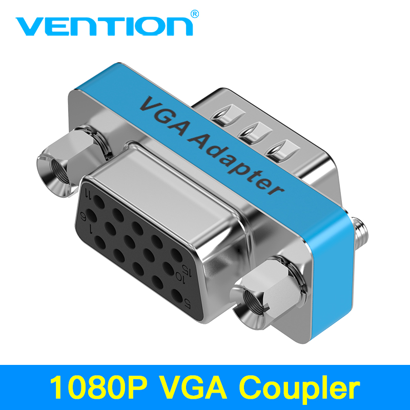 Vention VGA Coupler 15 Pin VGA Male To VGA Feamle Adapter HD15 Female To Female Gender With Gold-Plated For PC TV SVGA Adapter