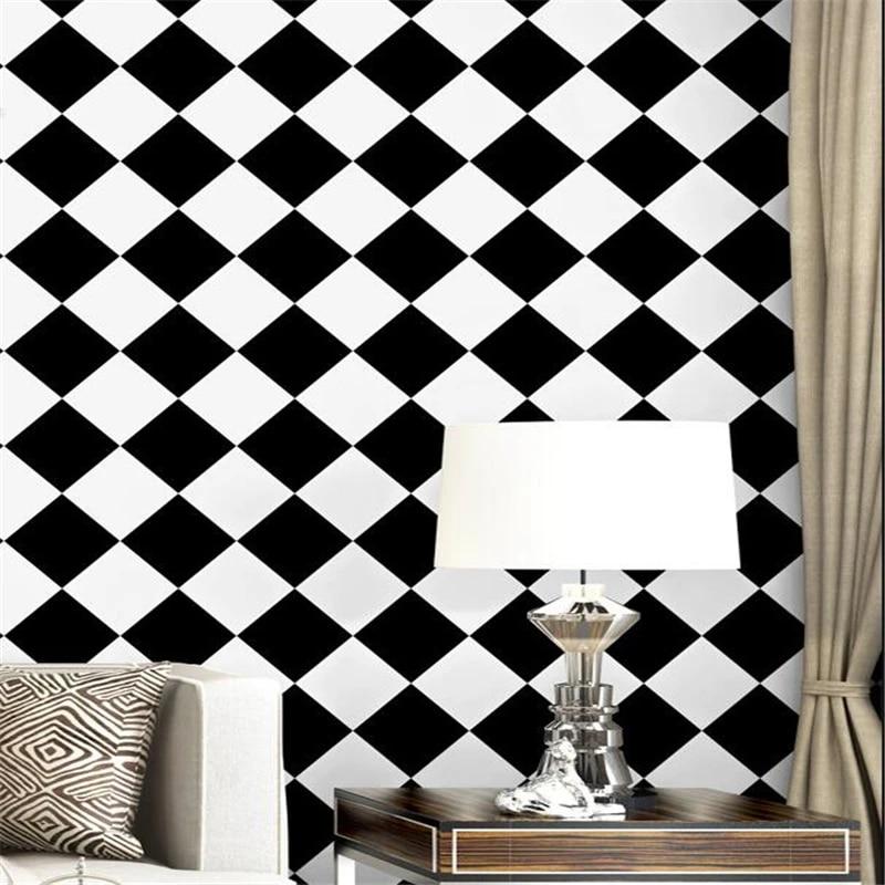 Wellyu Black White Wallpaper Modern Minimalist Square Lattice Diamond Geometry Living Room Bedroom Tv Background Wallpaper Wallpaper Grey Style Wallpaperwallpaper Pattern Aliexpress