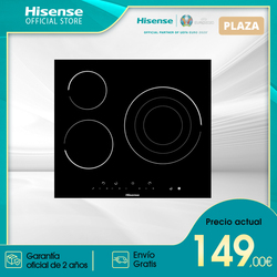 Hisense E6322C ceramic hob hob, kitchen hob, ceramic glass Panel, 3 Burners, 5700 W, 59 × 6 × 52 cm