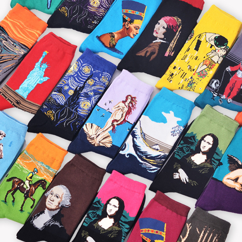 Casual Autumn Winter Retro Women Socks New Art Van Gogh Mural World Famous Oil Painting Socks Female Socks Happy Funny Men Socks