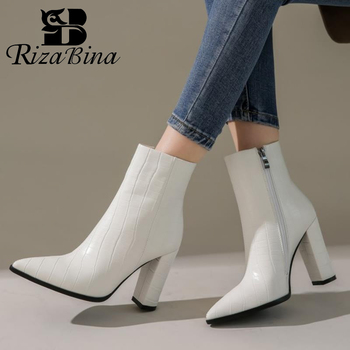 RIZABINA Size 34-43 Women Ankle Boots Zipper Thick High Heel Winter Shoes Women Sexy Pointed Toe Office Lady Short Boot Footwear