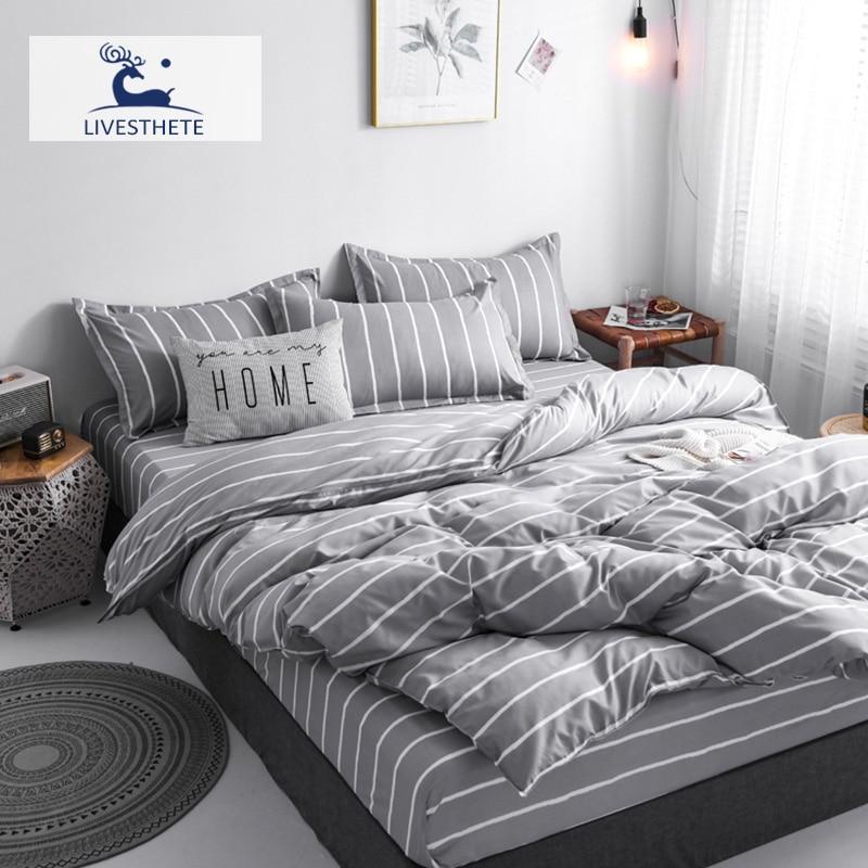 Liv-Esthete Classic Striped Gray Bedding Set Soft Printed Duvet Cover Pillowcase Queen King Bed Sheet Bedspread Flat