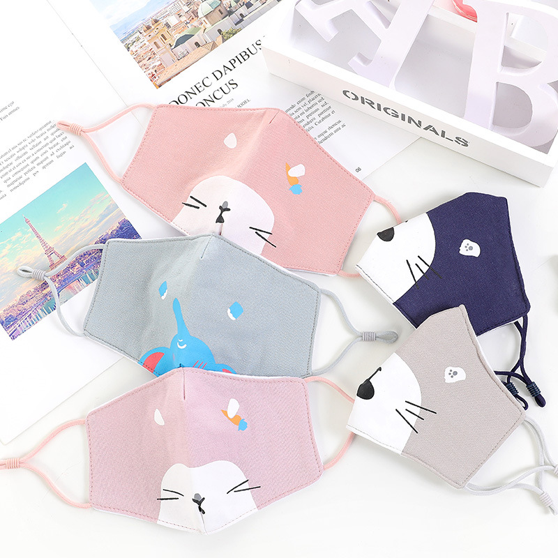 10pcs/Pack Children Cartoon Winter New Children's Cotton Folding Mask Ear Rope Adjustable Cartoon Printing Student Dust Mask