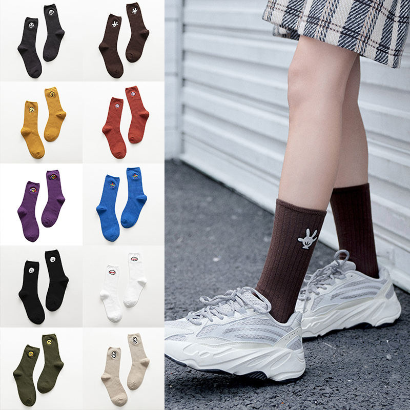 5 Pairs Womens Casual Socks Embroidery Cotton Blend Breathable Sock Cute Pattern K-BEST