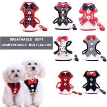 Gato do cão ajustável arnês coleira gravata macio malha respirável elegante arco colarinho tração corda para gatinho filhote de cachorro acessórios para animais de estimação