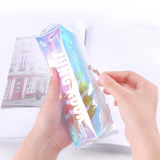 KPOP JIN JIMIN RM SUGA V JUNGKOOK J-HOPE RAP MONSTRO nome cor transparente caixa de lápis caixa de artigos de papelaria bonito estojo de lápis carteira