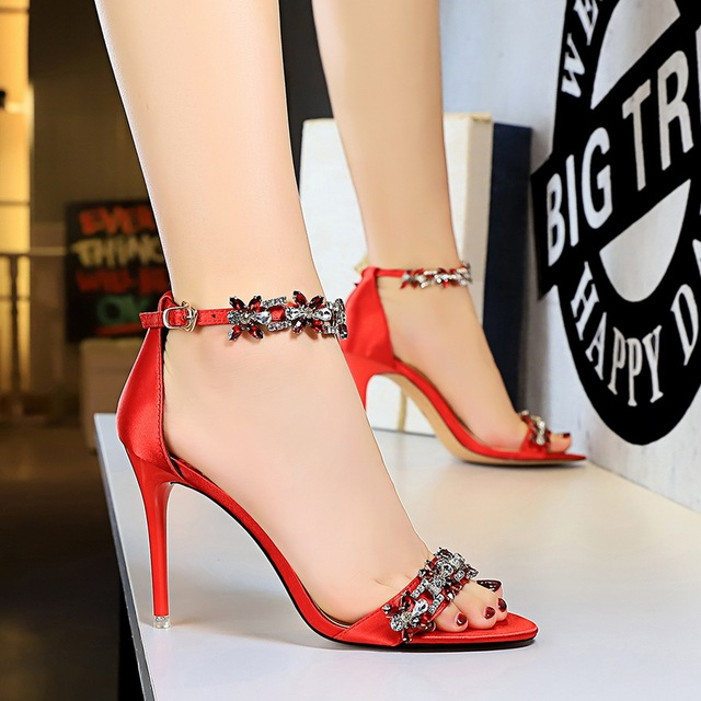 9cm High Heels Crystal Sandal Stiletto Satin Strap Heels  4