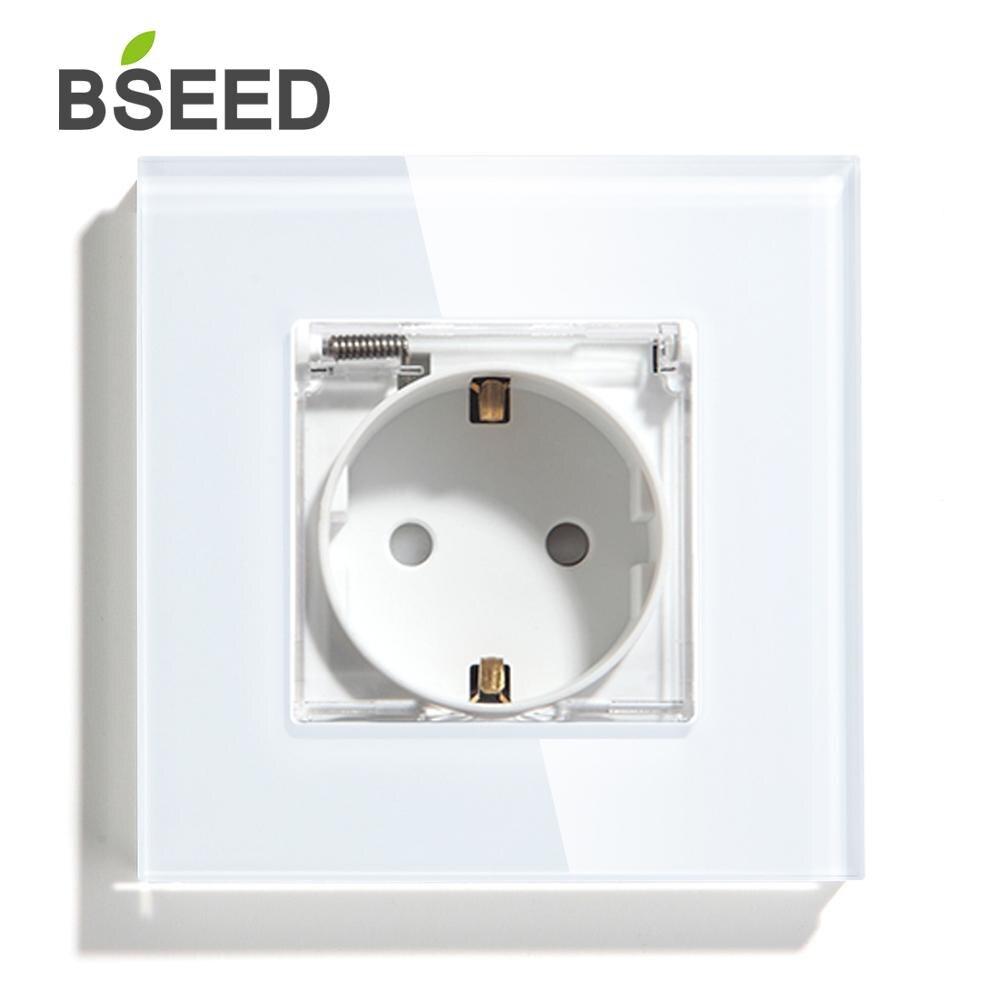 BSEED Новый Водонепроницаемый гнездо 16A 3 цвета электрическая стенная розетка монокристаллической Панель электрическая розетка 110V - 250V ЕС Ста...