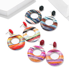 Bohemian Ethni Colorful Fabric Earring Retro Exaggerated Hollow Creative Women Handmade Vintage Statement Drop Earrings