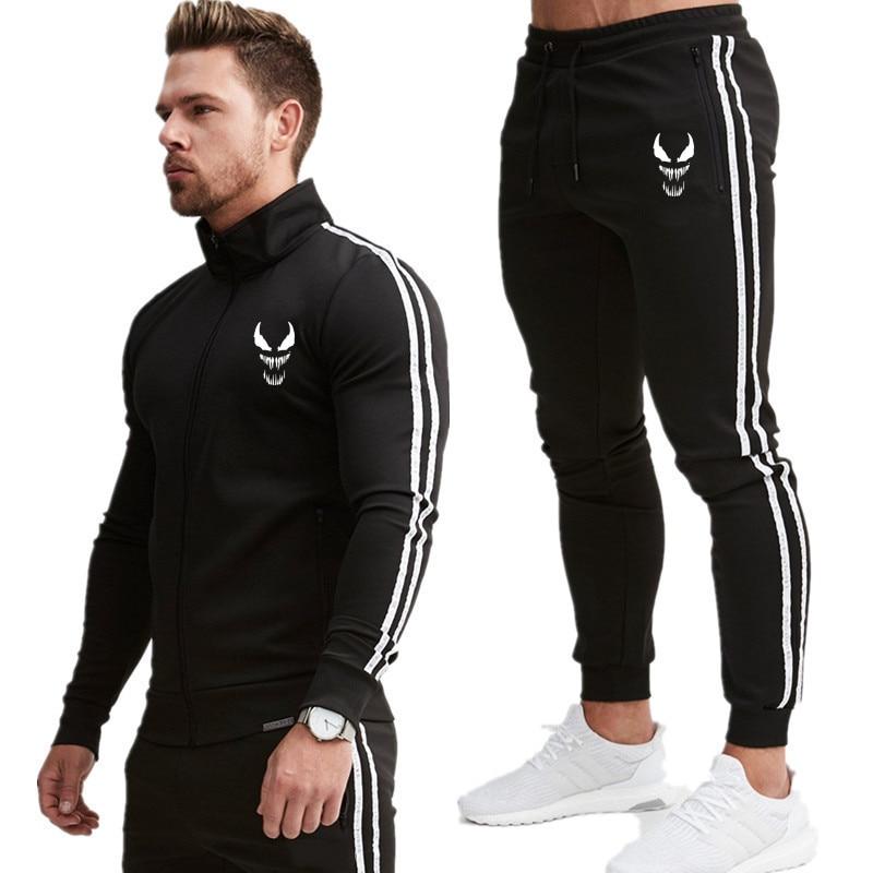 Men's Sportwear Suit Sweatshirt Tracksuit Without Hoodie Men Casual Active Suit Zipper Outwear 2PC Jacket+Pants Sets 2019