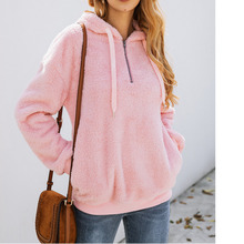 2019 Zipper Woolen Drawstring Sweatshirt Winter Women Long Sleeve Loose Solid Hoodies Moleton Feminino Inverno Ey*