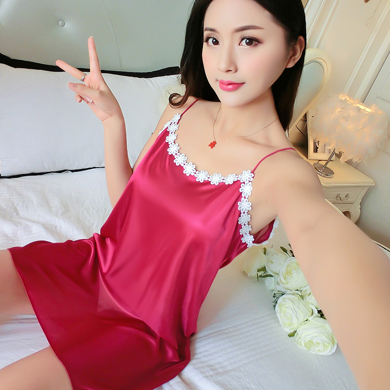 Pajamas Women's Summer Strapped Dress Nightgown Sexy Lace Midi-skirt Silk Tracksuit Thin Viscose