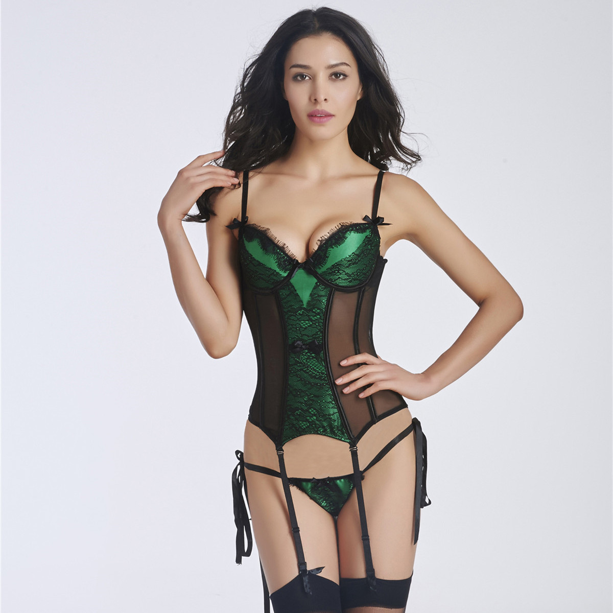 New High Elasticity   Corset     Bustier   With Cup Girdle Set With Straps Belt Breathable Fabric Lingerie Black   corset   dress