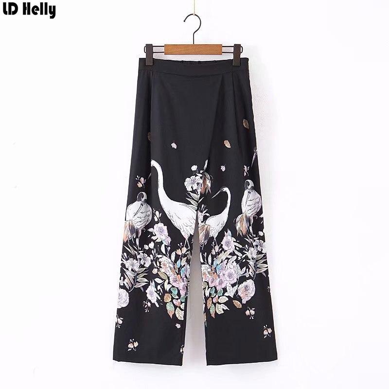 LD Helly 2019 Women Crane Floral Printed   Wide     Leg     Pants   Fashion Female Zipper Casual Cozy Ankle-Length Trousers Pantalones