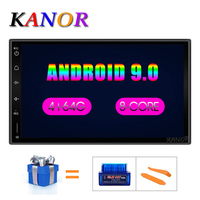 KANOR Octa Core RAM 4G ROM 64G 2 Din Android 9.0 Car Audio Stereo Radio With GPS WiFi Universal GPS Navigation Video Head Unit